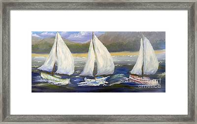 Yachts Sailing Off The Coast Framed Print by Pamela  Meredith