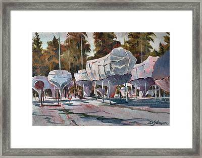 Yachts Winterizing Framed Print by David Gilmore