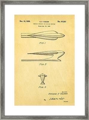 Yaeger Hood Ornament Patent Art 1935 Framed Print by Ian Monk