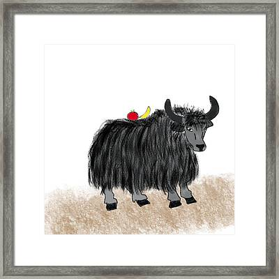Yak Has A Snack Framed Print by Gabrielle Kristine