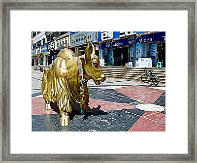 Yak Sculpture In Lhasa-tibet     Framed Print by Ruth Hager