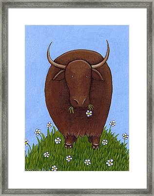 Whimsical Yak Painting Framed Print by Christy Beckwith