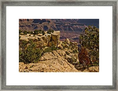 Framed Print featuring the photograph Yaki Point 3 The Grand Canyon by Bob and Nadine Johnston
