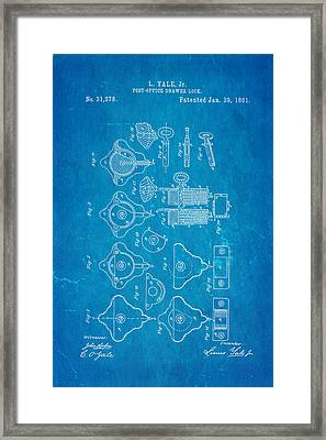 Yale Lock Patent Art 1861 Blueprint Framed Print