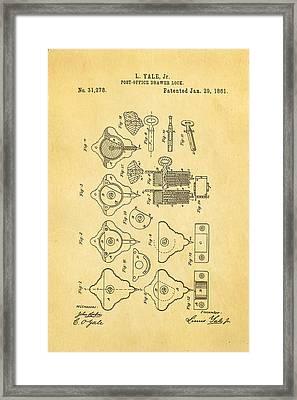 Yale Lock Patent Art 1861 Framed Print by Ian Monk