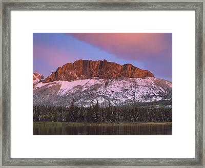 Yamnuska And Pink Cloud Framed Print by Richard Berry