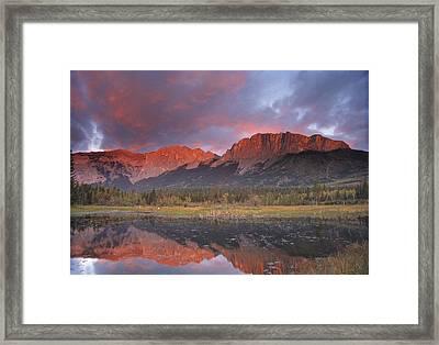 Yamnuska And Reflection  Framed Print