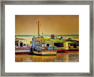 Yangon Harbour Framed Print by Wallaroo Images