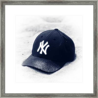 Yankee Cap Blue Toned Framed Print by John Rizzuto