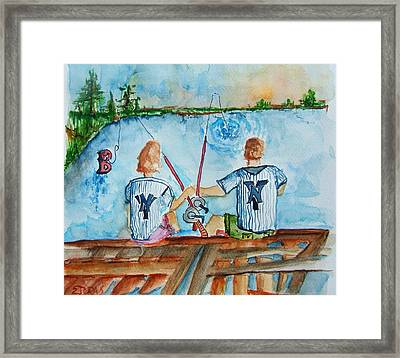 Yankee Fans Day Off Framed Print by Elaine Duras