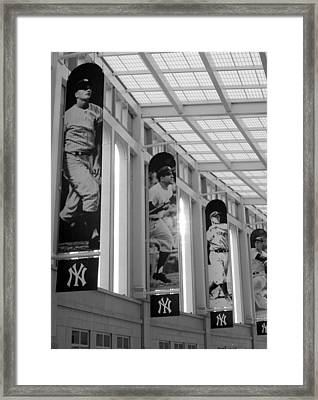 Yankee Greats Of Yesteryear In Black And White Framed Print