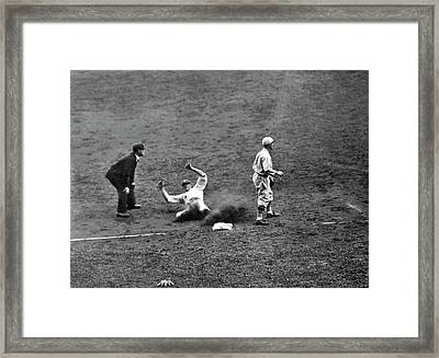 Yankee Meusel Safe At Third Framed Print by Underwood Archives