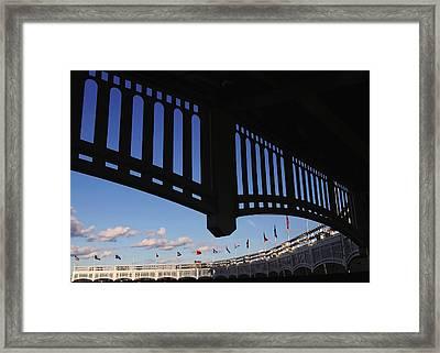 Yankee Stadium Facade Framed Print by Allen Beatty