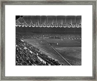 Yankee Stadium Game Framed Print by Underwood Archives