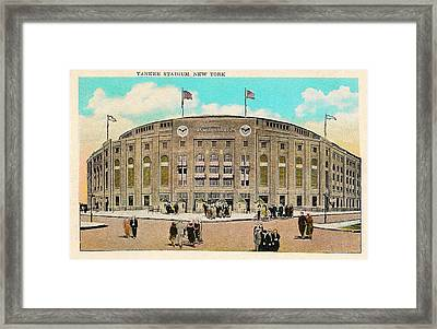 Yankee Stadium Postcard Framed Print by Bill Cannon