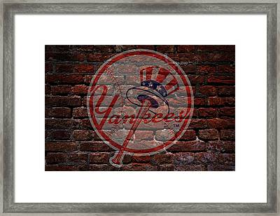 Yankees Baseball Graffiti On Brick  Framed Print by Movie Poster Prints