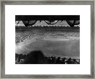 Yankees Defeat Giants Framed Print by Underwood Archives