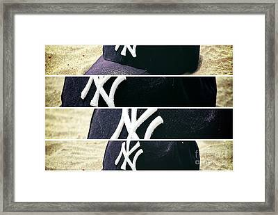 Yankees Hat Panel Framed Print by John Rizzuto