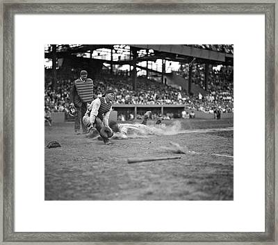 Yankees Lou Gehrig Scores Head First In The 4th Inning Framed Print by Underwood Archives
