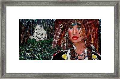 Yanne And Silver Wolf Framed Print