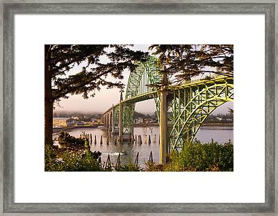 Yaquina Bay Bridge Morning Light Framed Print by Darren  White