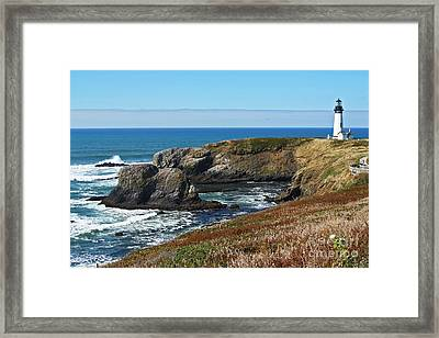 Yaquina Light And Headland Three Framed Print by Donald Sewell