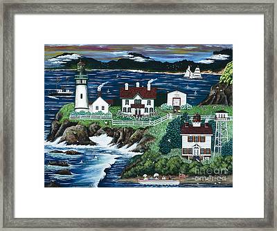 Framed Print featuring the painting Yaquina Lighthouse by Jennifer Lake
