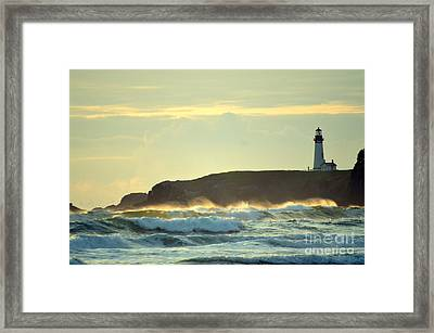 Yaquinas Rolling Waves Framed Print by Sheldon Blackwell