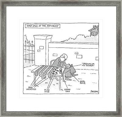 Yard Sale At The Romney's Features Karl Rove Framed Print by Jack Ziegler