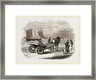Yarmouth Beach-cart With Fish Framed Print by Litz Collection