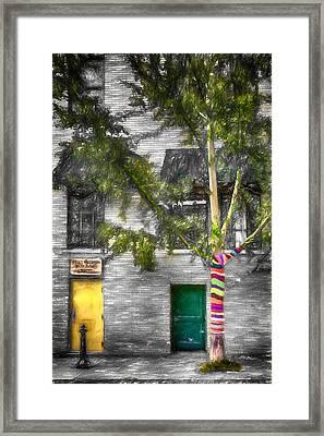 Yarn Bombed Tree Framed Print