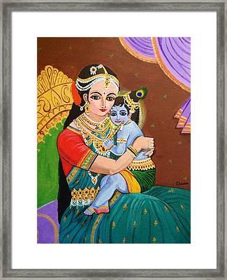 Yashoda And Krishna Framed Print by Charumathi Raghuraman
