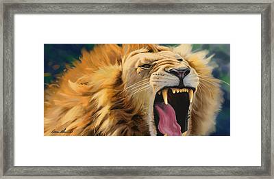 Yawning Lion Framed Print