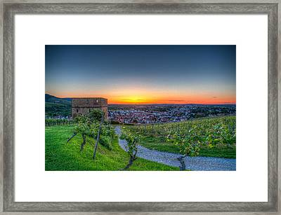 Yburg Sunset Framed Print by Shirley Radabaugh