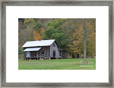 Ye Old Cabin In The Fall Framed Print