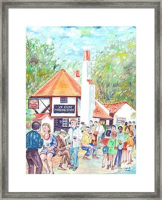 Ye Olde Fighting Cocks With Summer Revellers Framed Print by Giovanni Caputo