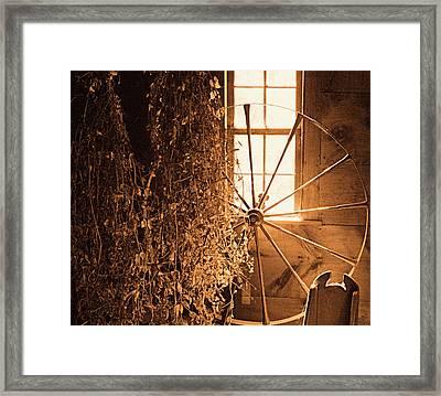 Ye Olde Spinning Wheel Framed Print by Bruce Carpenter
