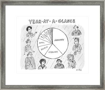 Year At A Glance--a Pie Chart Of The Months Framed Print by Roz Chast