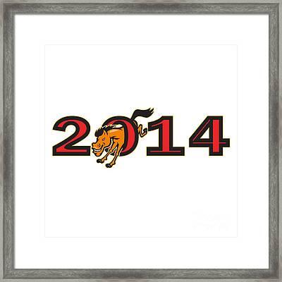 Year Of Horse 2014 Jumping Side Framed Print by Aloysius Patrimonio