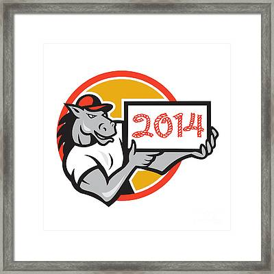 Year Of Horse 2014 Showing Sign Cartoon Framed Print by Aloysius Patrimonio