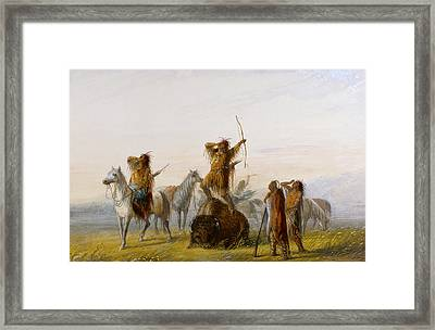 Yell Of Triumph Buffalo Framed Print by Alfred Jacob Miller