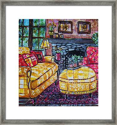 Yello Sofa Framed Print by Linda Vaughon