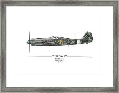 Yellow 10 Focke-wulf Fw190d - White Background Framed Print by Craig Tinder