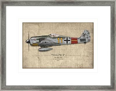 Yellow 11 Focke-wulf Fw 190 - Map Background Framed Print by Craig Tinder