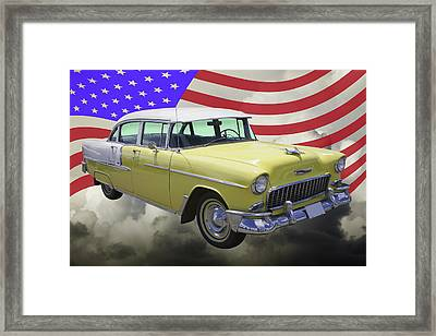 Yellow 1955 Chevrolet Bel Air And American Flag Framed Print by Keith Webber Jr