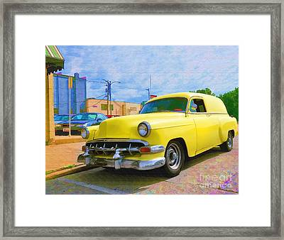 Yellow 54 Chevy Delivery Framed Print by Liane Wright