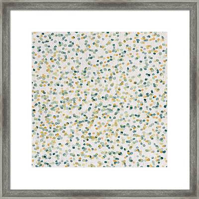 Yellow And Blue Dots Framed Print by Aged Pixel