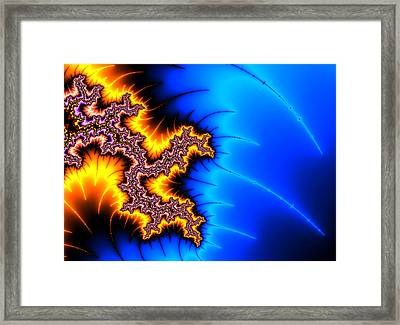 Yellow And Blue Fractal Artwork Framed Print