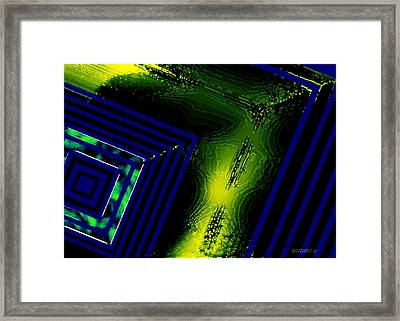 Yellow And Blue Geometric Art Framed Print by Mario Perez