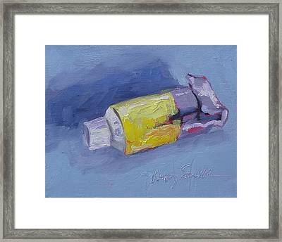 Yellow And Blue Framed Print by Kelley Smith